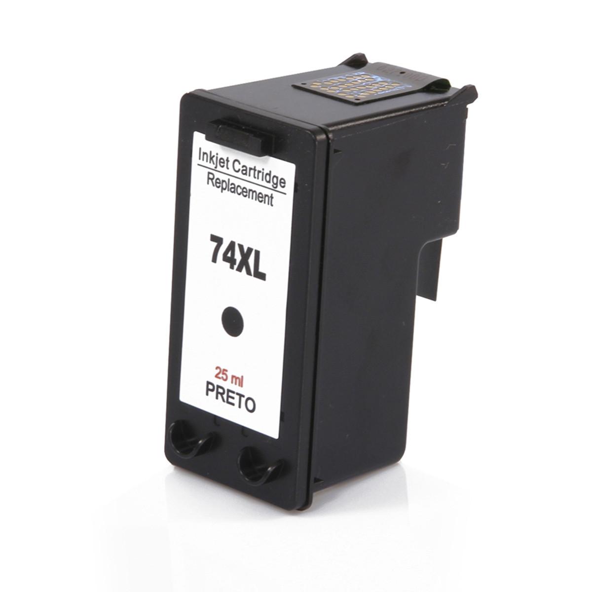 Cartucho de Tinta Compatível com HP 74XL CB336WB Preto   Photosmart C4480 C4280 C5280   25ml