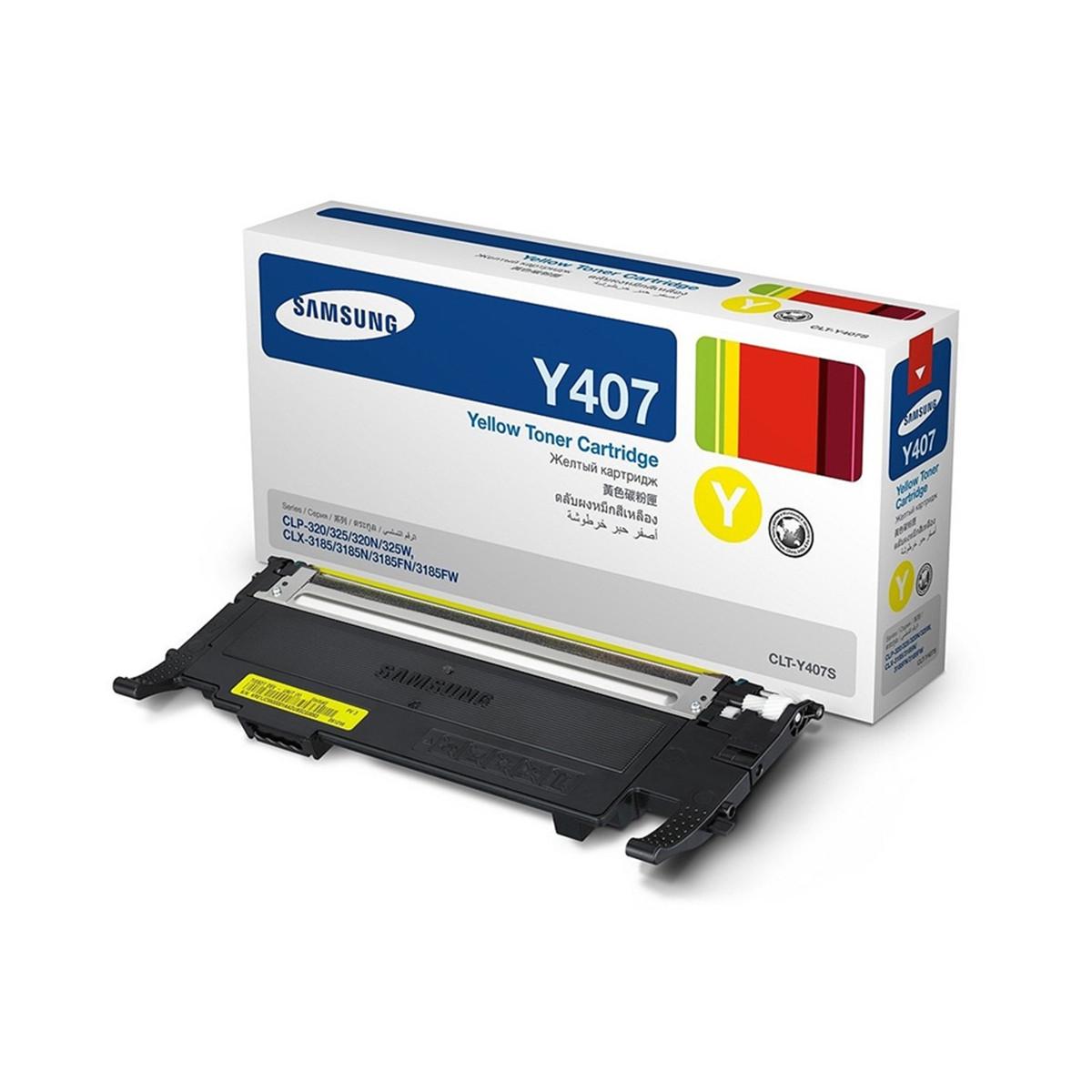 Toner Samsung CLT-Y407S/XAA CLT-Y407S Amarelo | CLP325W CLX3185N CLP-325 CLX-3185FW | Original 1k