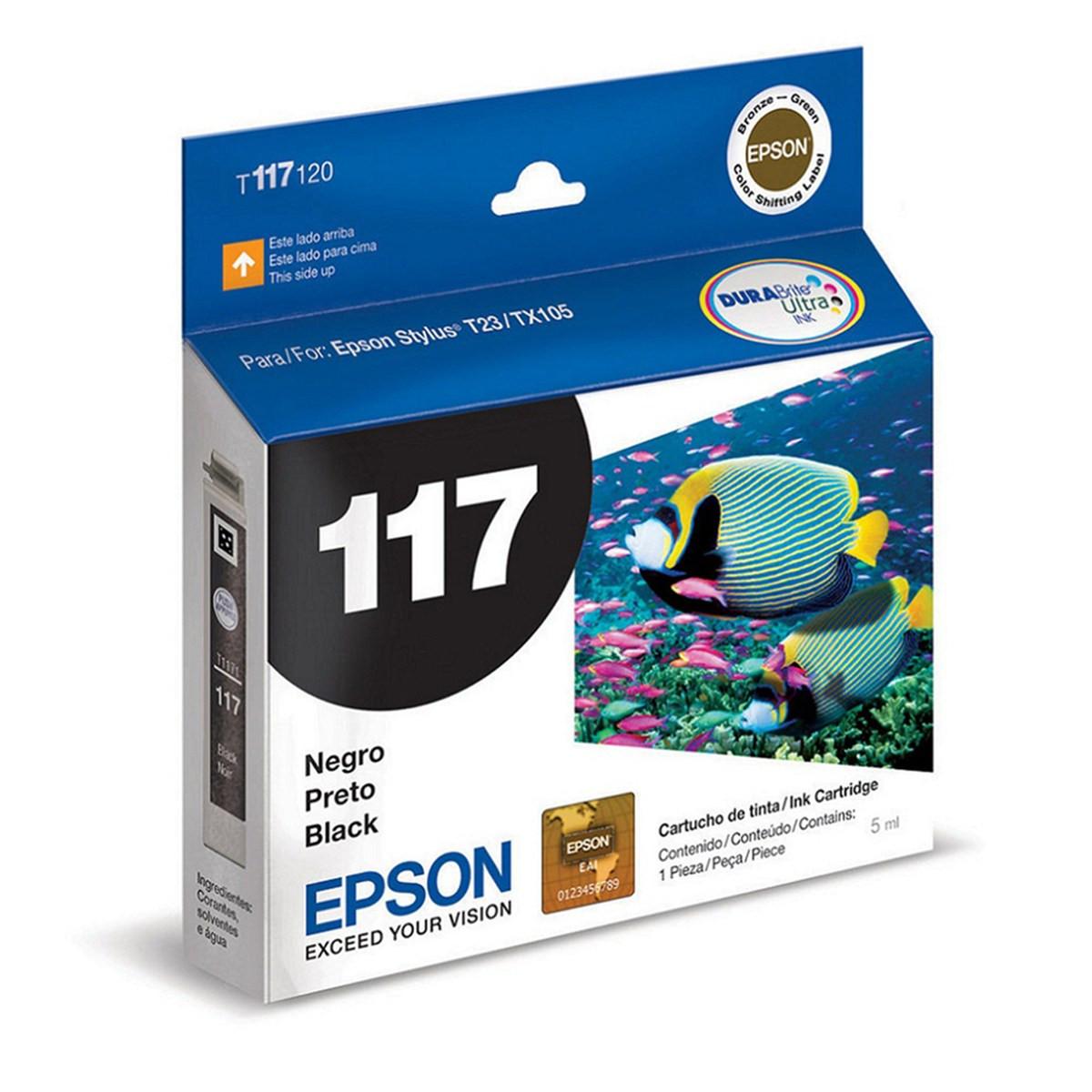 Cartucho de Tinta Epson Preto T117120 T117 T1171 | T23 T24 TX105 TX115 | Original 5 ml