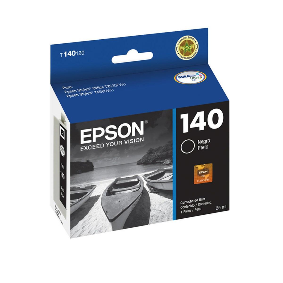 Cartucho de Tinta Epson T140120 T140 T1401 Preto | T42WD TX560WD TX620FWD | Original 25 ml