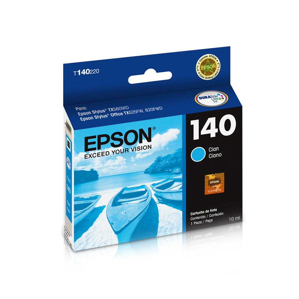 Cartucho de Tinta Epson T140 T140220 T1402 Ciano | TX560WD T42WD TX620FWD | Original 10 ml