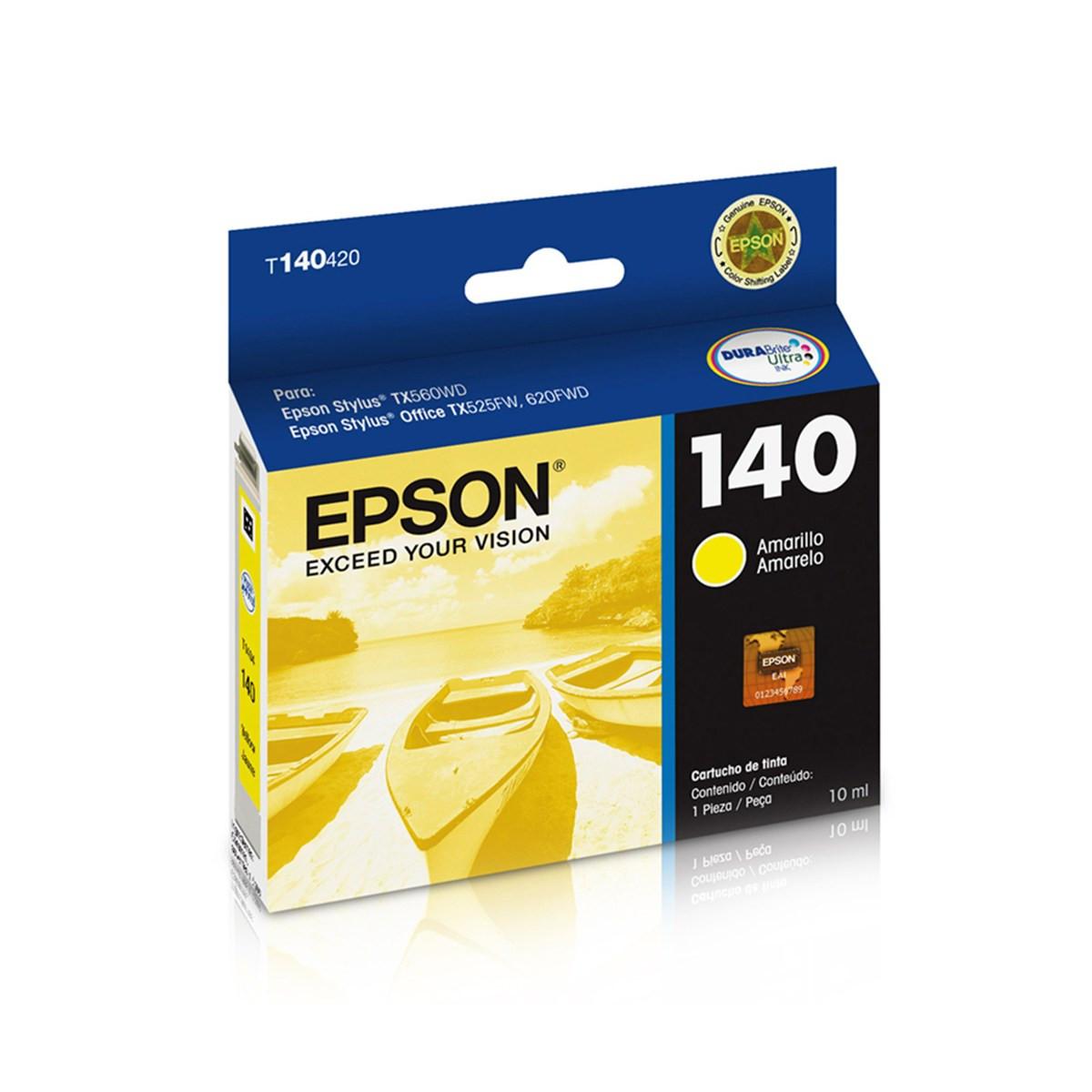 Cartucho de Tinta Epson T140420 T1404 T140 Amarelo | TX620FWD TX560WD T42WD | Original 10 ml