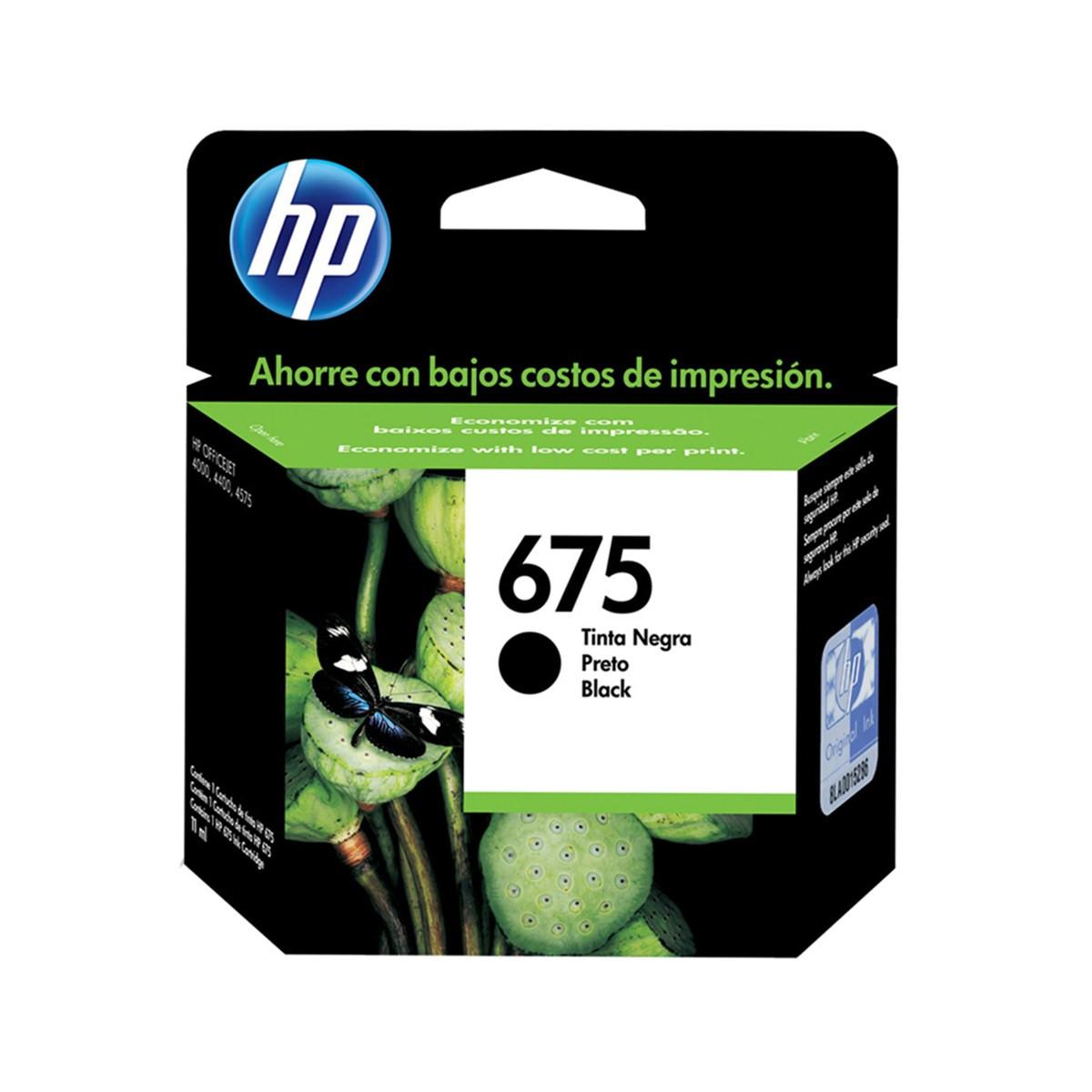 Cartucho de Tinta HP 675 CN690AL   Preto   Original HP   13,5 ml