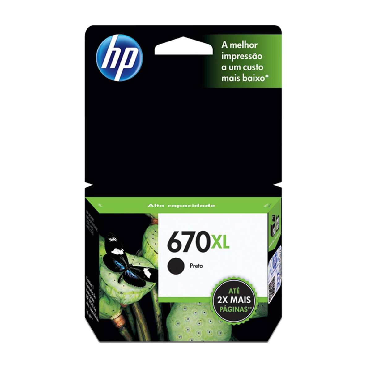 Cartucho de Tinta HP 670XL CZ117AB | Preto | Original HP | 14 ml