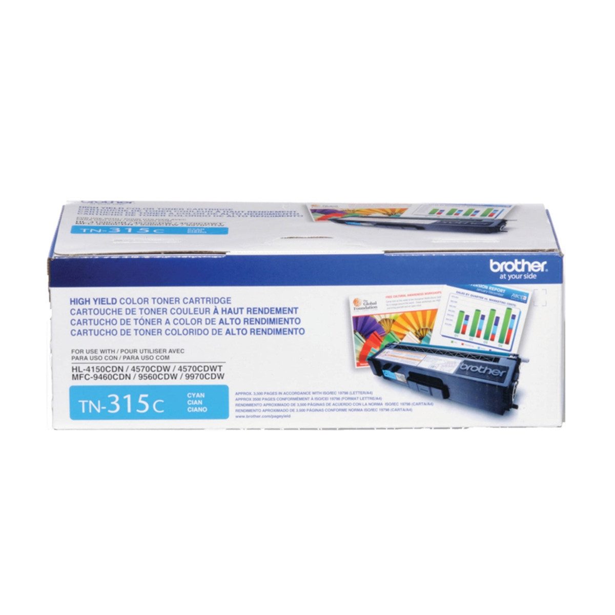 Toner Brother TN315 TN315C Ciano | HL4570 HL4150 HL4140 MFC9560 MFC9460 MFC9970 | Original 3.5k