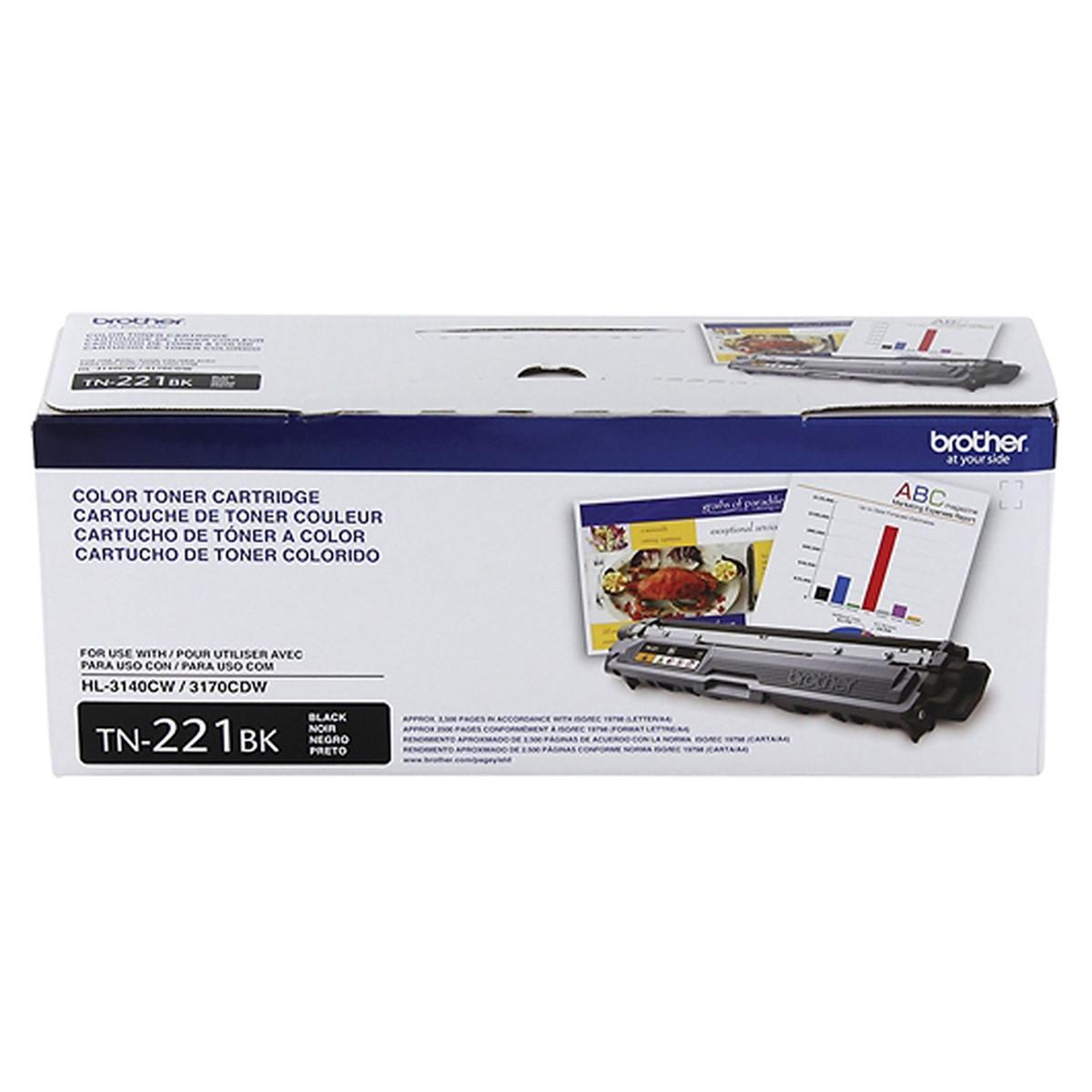Toner Brother TN221BK TN221 Preto | HL3140CW HL3170CDW MFC9130CW MFC9330CDW | Original 2.5k