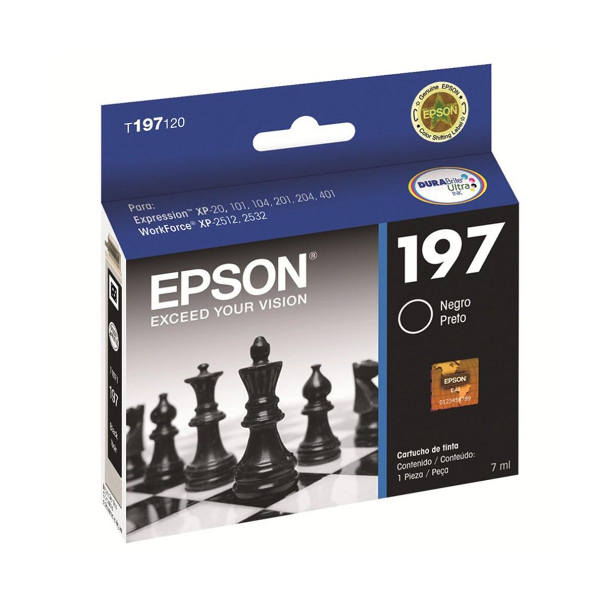 Cartucho de Tinta Epson T197120 T197 Preto | XP101 XP201 XP411 XP214 XP401 WF2532 | Original 8ml