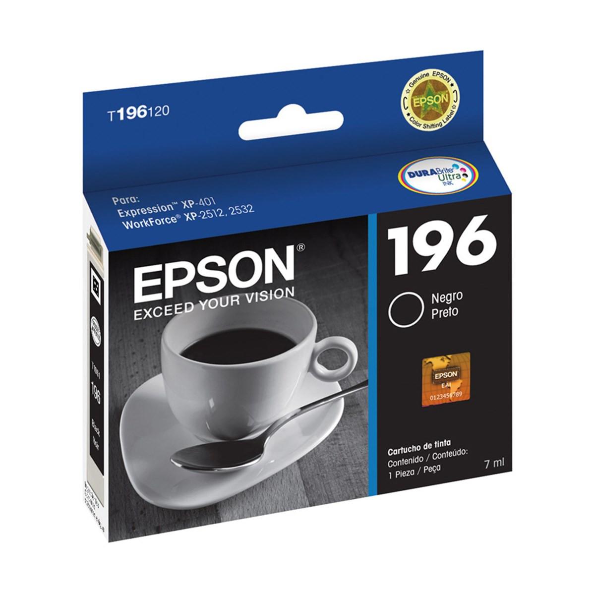 Cartucho de Tinta Epson T196120 T196 Preto | XP401 XP411 WF-2532 | Original 5ml