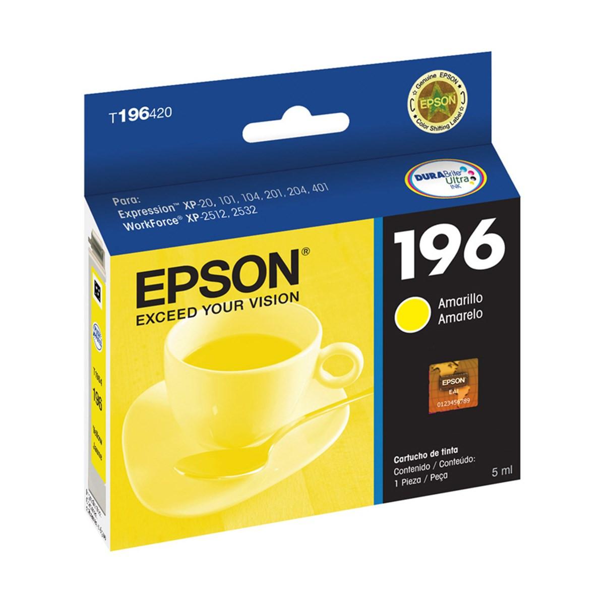Cartucho de Tinta Epson T196420 T196 Amarelo | XP101 XP201 XP214 XP401 XP411 WF-2532 | Original 4ml
