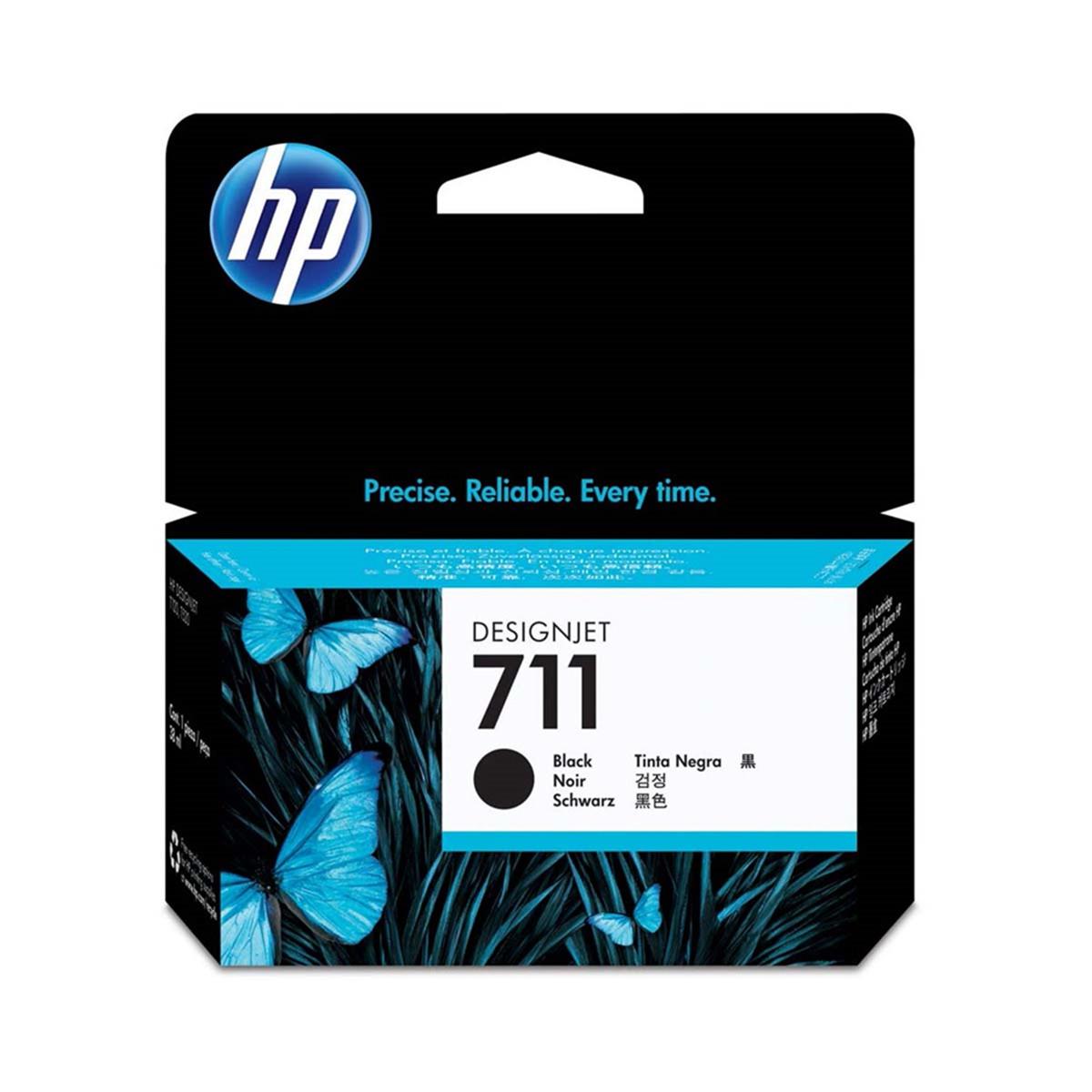 Cartucho de Tinta HP 711 Preto CZ129A | Plotter T120 T520 T130 CQ891A CQ890A CQ893A | Original 38ml