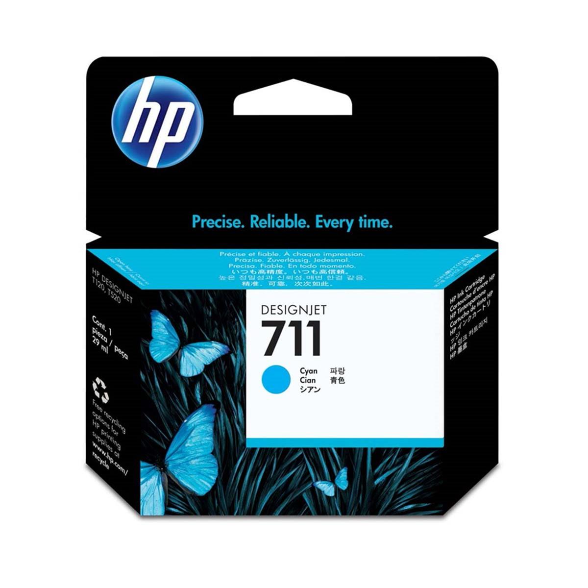 Cartucho de Tinta HP 711 Ciano CZ130A | Plotter T120 T520 CQ891A CQ890A CQ893A | Original 29ml