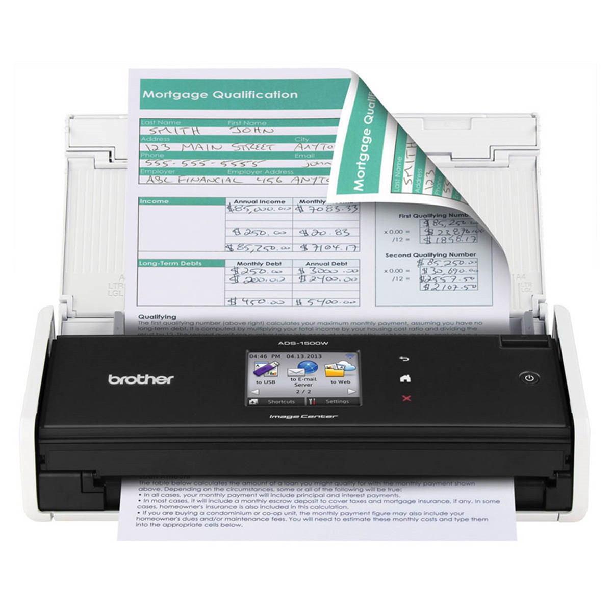 Scanner Brother imageCENTER ADS-1500W Conexão Wireless Até Tamanho A4 ADF para 20 Folhas com Duplex