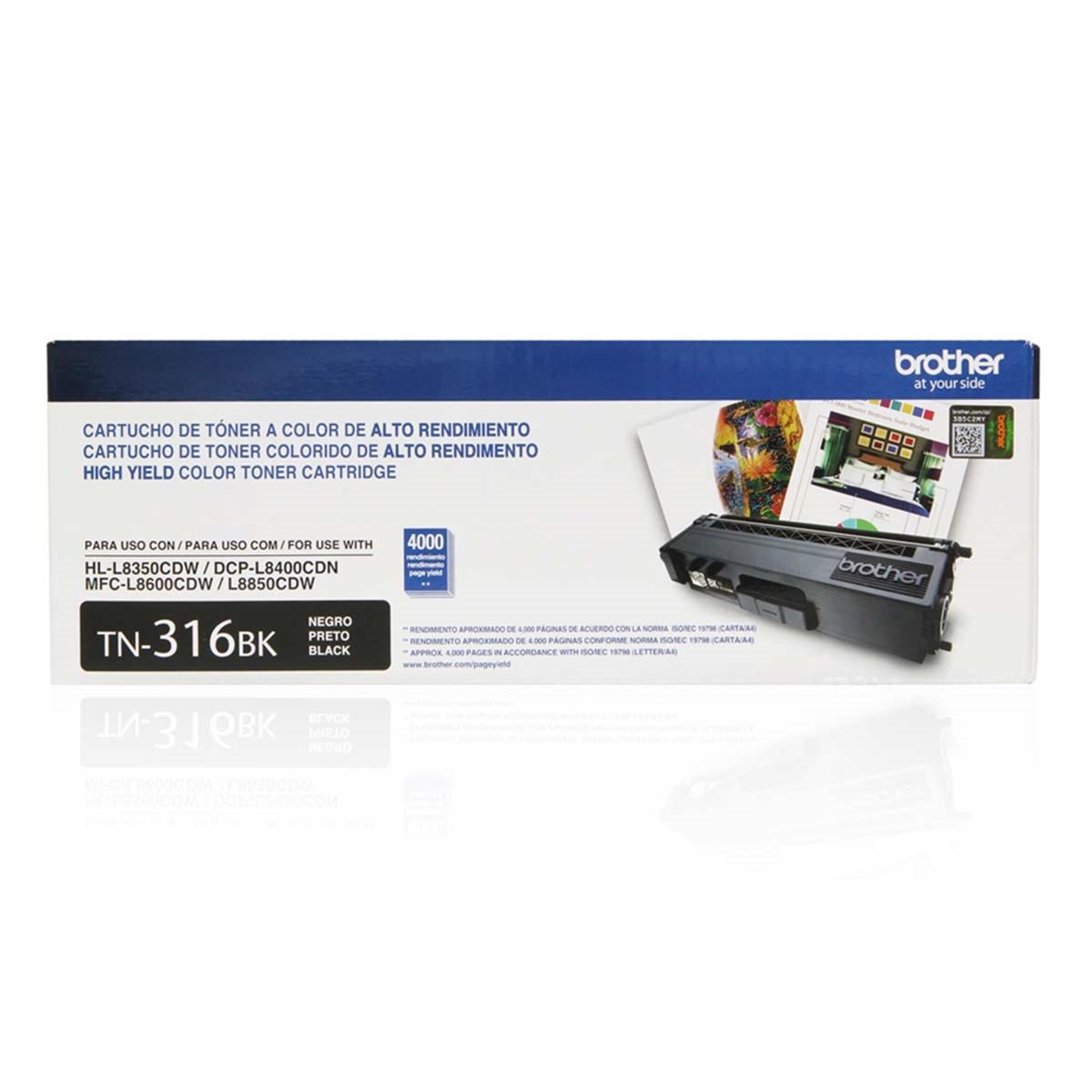 Toner Brother TN-316BK TN316 Preto | HL-L8350CDW MFC-L8600CDW DCP-L8400CDN | Original