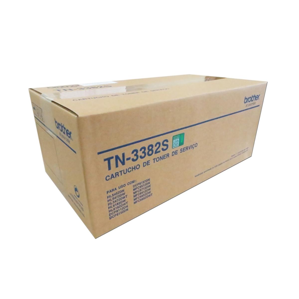 Toner Brother TN3382S TN3382 Toner de Serviço   DCP-8112DN HL-5452DN DCP-8152DN   Original 8k
