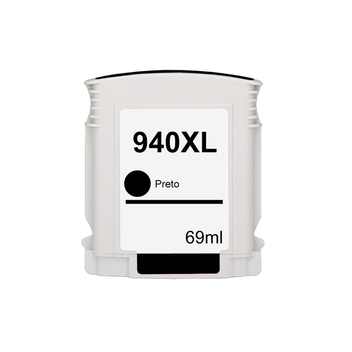 Cartucho de Tinta Compatível com HP 940XL 940 C4906AB C4906AL Preto | 8000 8000WL 8500 8500W 69ml