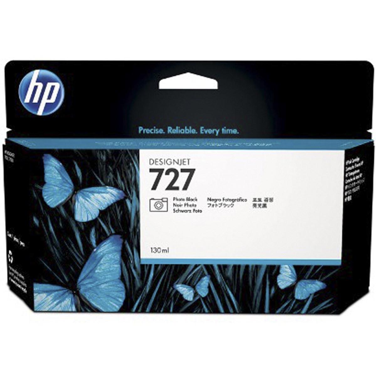 Cartucho de Tinta para Plotter HP 727 B3P23A Preto Foto | Designjet T1500 T920 | Original 130ml