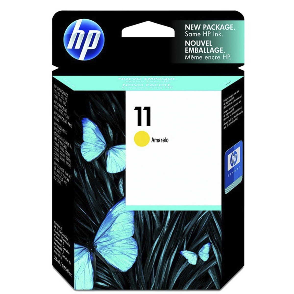 Cartucho de Tinta HP 11 C4838A Amarelo | InkJet 2800 Designjet 110plus Designjet 111 | Original 28ml