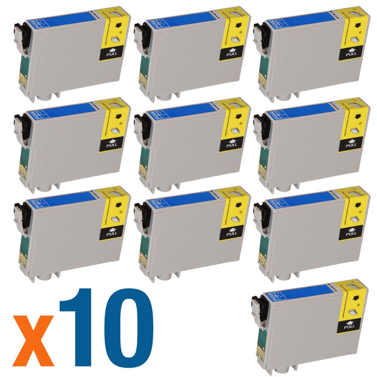 Kit com 10 Cartuchos de Tinta Epson T063220 T0632 T063 Ciano | CX7700 C87 CX3700 C67 | Compatível
