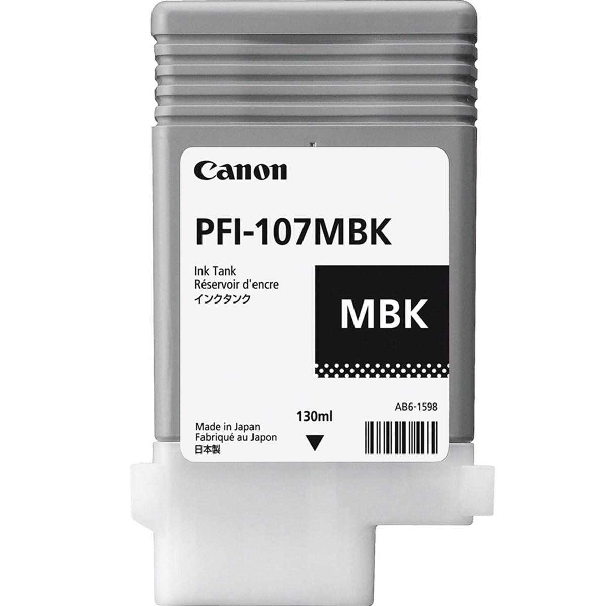 Cartucho de Tinta Canon PFI-107 PFI-107MBK Preto Fosco | Original 130ml