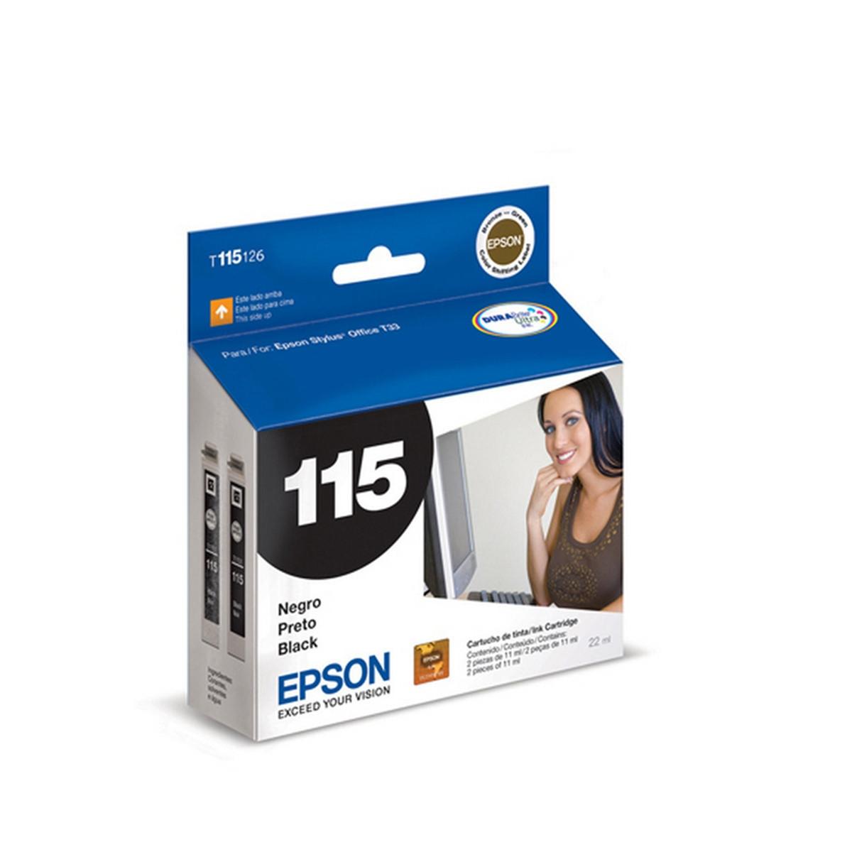 Cartucho de Tinta Epson 115, T115126 | Preto para T33 TX515FN T1110 | Original 22ml