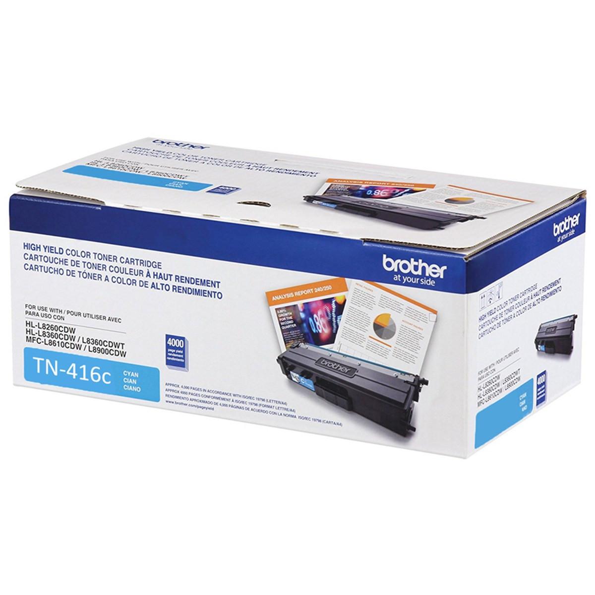 Toner Brother TN-416C Ciano | HL-L8360CDW MFC-L8610CDW MFC-L8900CDW MFC-L9570CDW | Original 6.5k