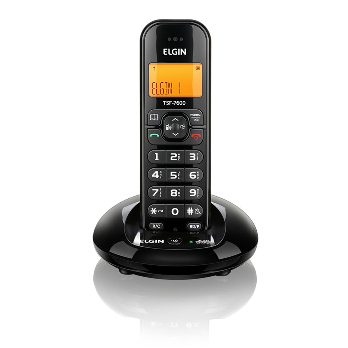 Telefone Sem Fio Elgin TSF 7600 com Identificador de Chamada e Viva Voz | Preto
