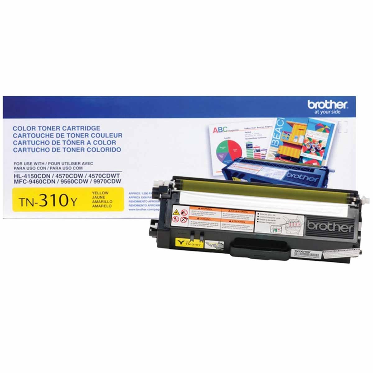 Toner Brother TN310 TN310Y Amarelo | HL4150 HL4570 MFC9970 MFC9560 MFC9460 | Original 1.5k