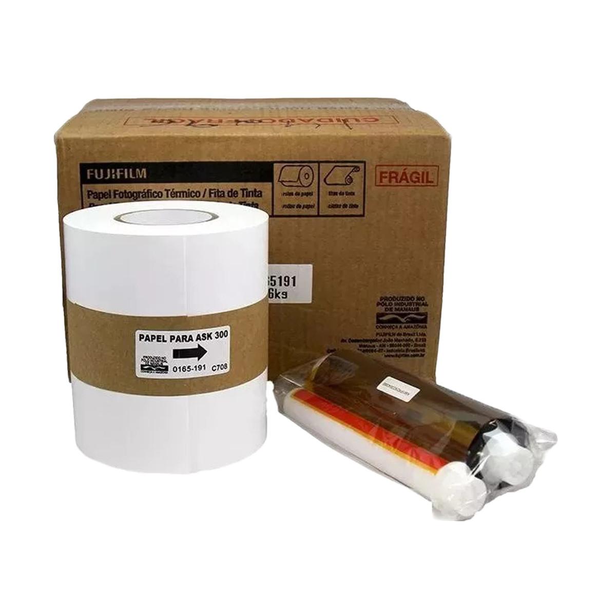 Conjunto de Ribbon e Papel Fujifilm ASK300 10X15 (6x4) 800 cópias