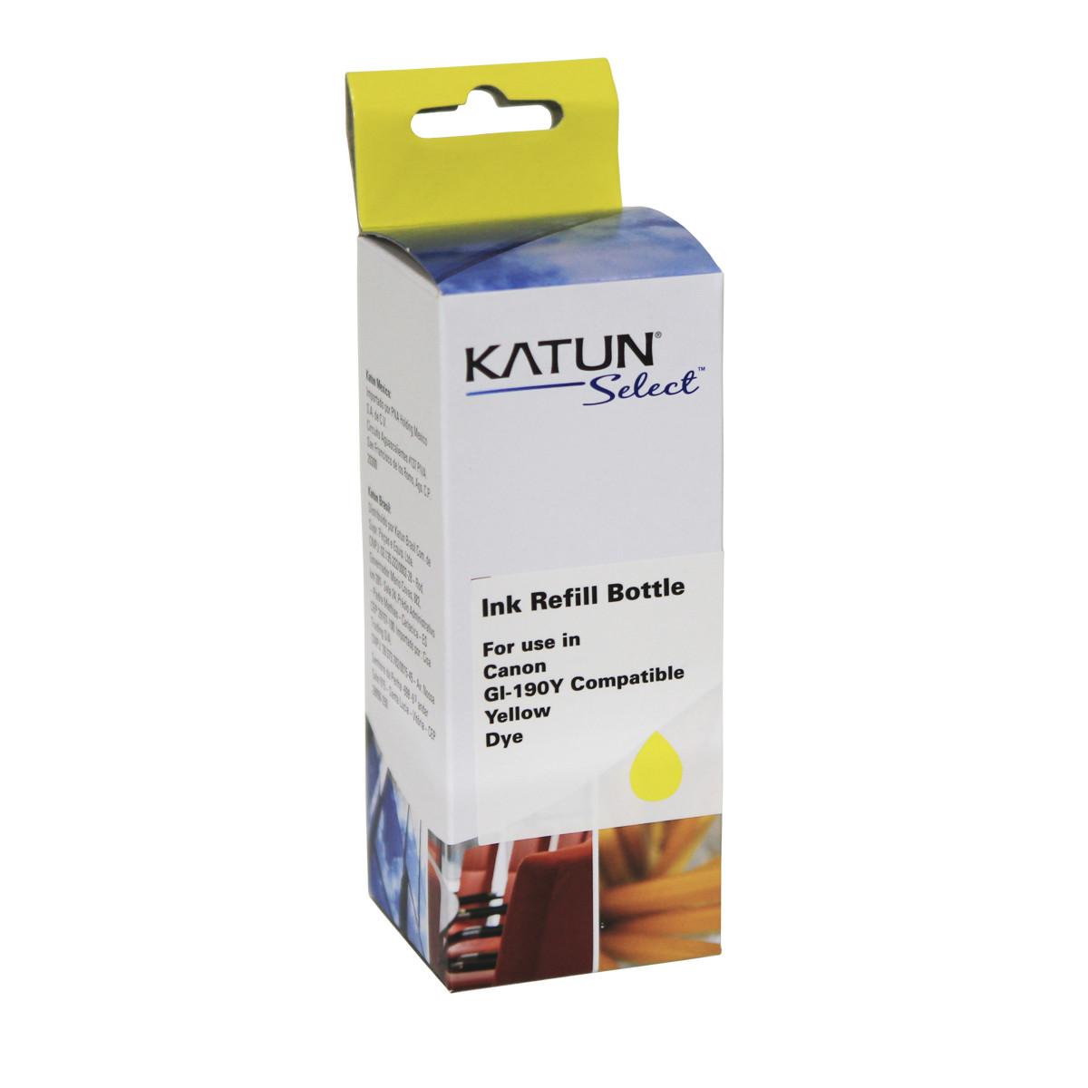 Tinta Compatível com Canon GI-190Y Amarelo   G3100 G2100 G1100 G4100   Katun Select 100ml