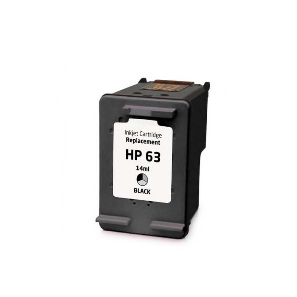 Cartucho de Tinta Compatível com HP 63 F6U62 Preto   Office Jet 4655 4650 DeskJet 2130 2132   14ml