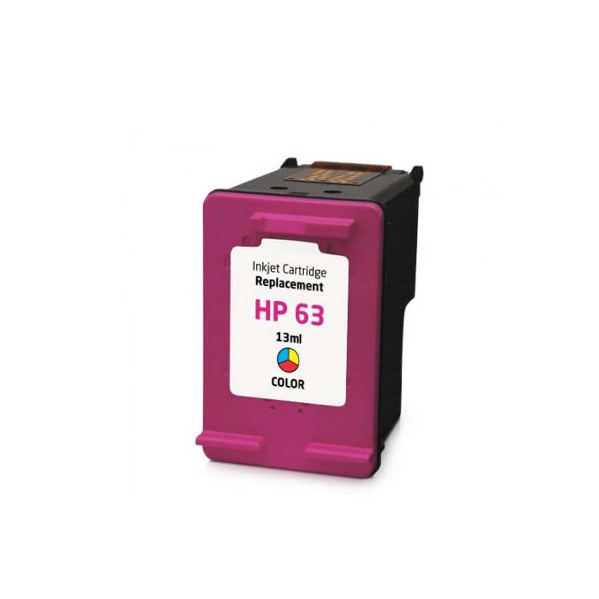 Cartucho de Tinta Compatível com HP 63 F6U61 Colorido Office Jet 4655 4650 DeskJet 2130 2132 | 13ml