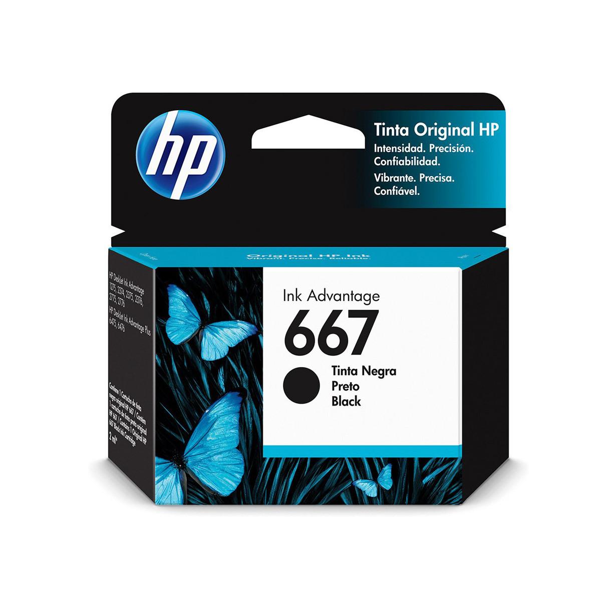 Cartucho de Tinta HP 667 Preto 3YM79L 3YM79AL | Deskjet Ink Advantage 2776 | Original
