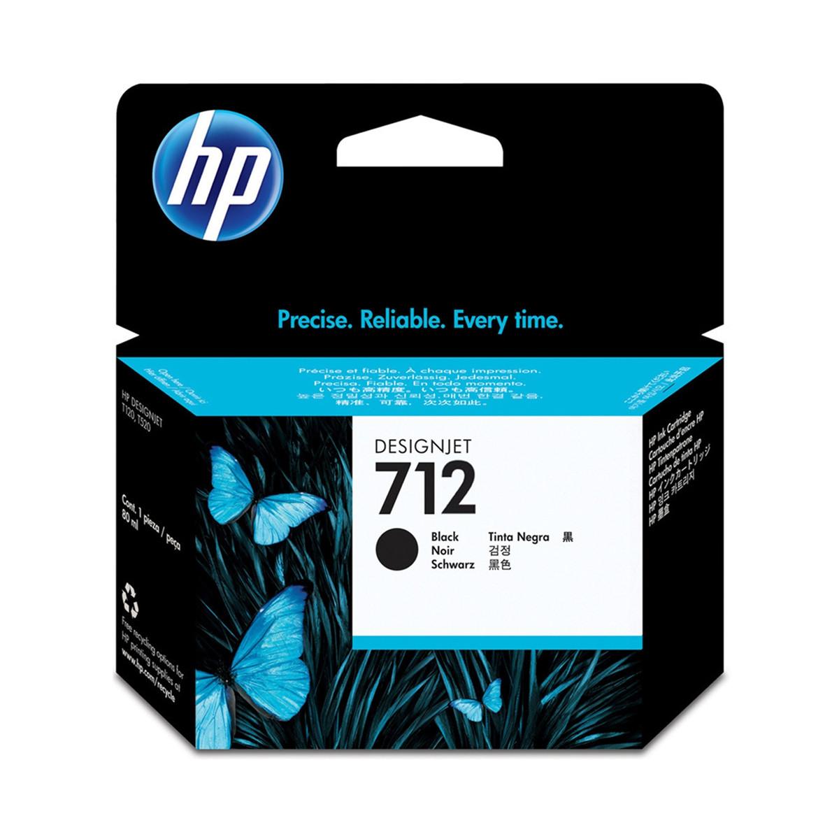 Cartucho de Tinta HP 712 Preto 3ED71A   Plotter T250 5HB06A T650 5HB08A 5HB10A   Original 80ml