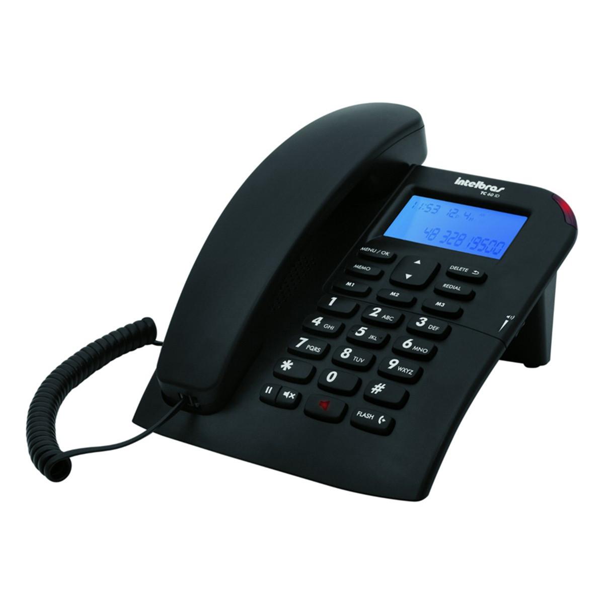 Telefone com Fio Intelbras TC60 com ID | Preto