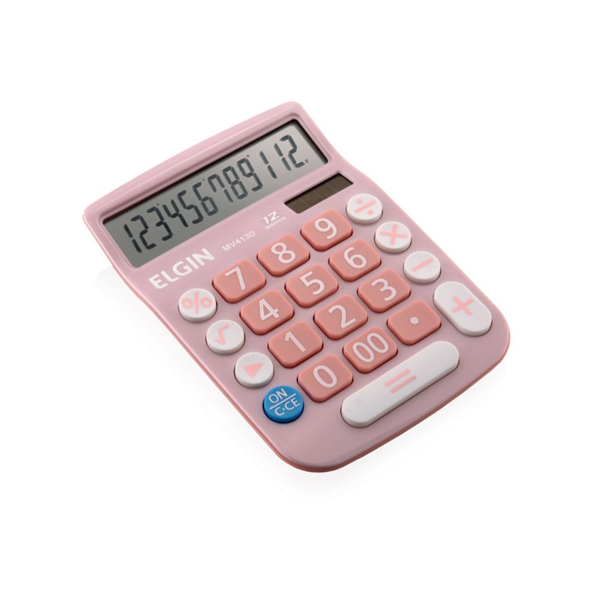 Calculadora de Mesa Elgin MV4130   Rosa