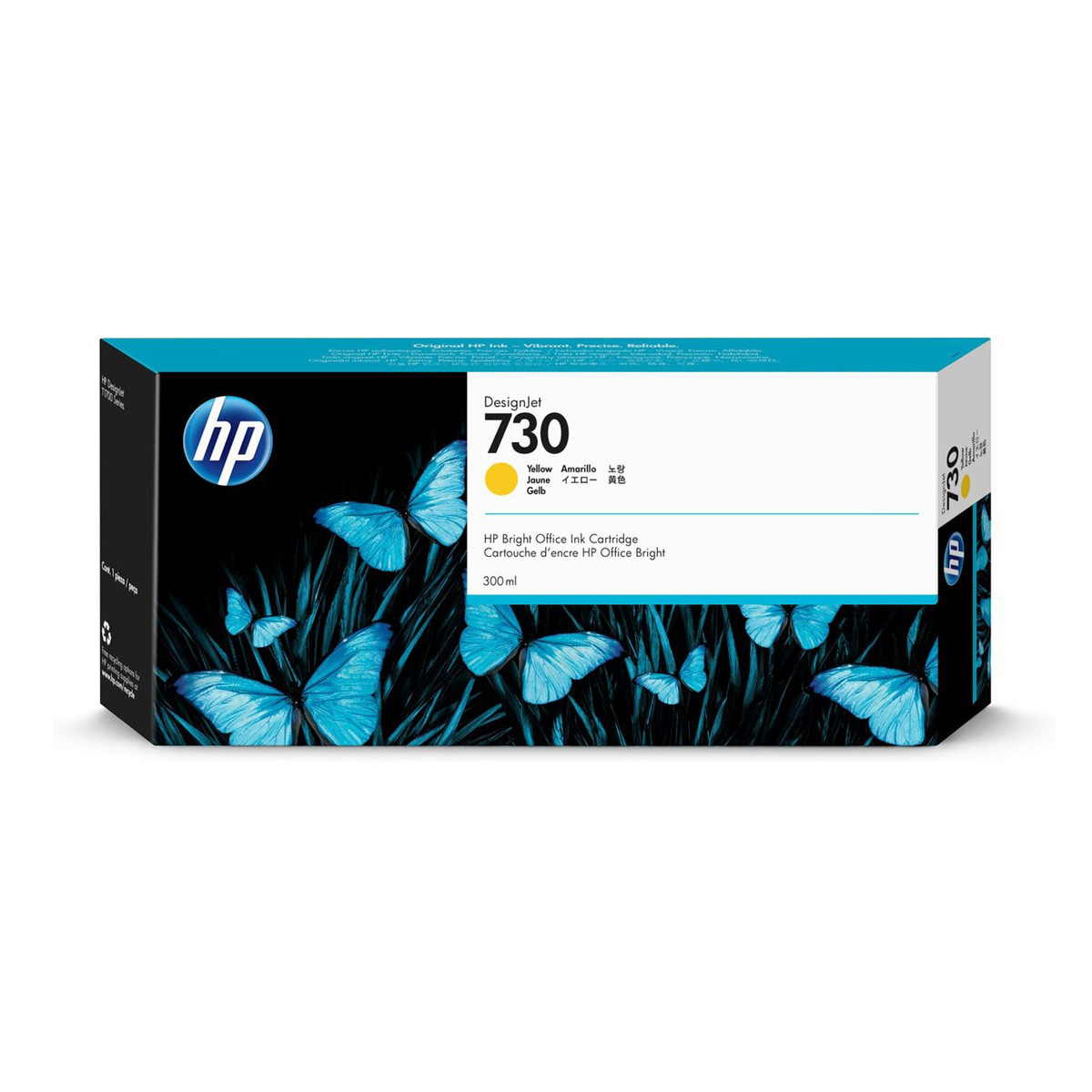 Cartucho de Tinta HP 730 Amarelo P2V70A   Plotter HP T1600 T1700   Original 300ml