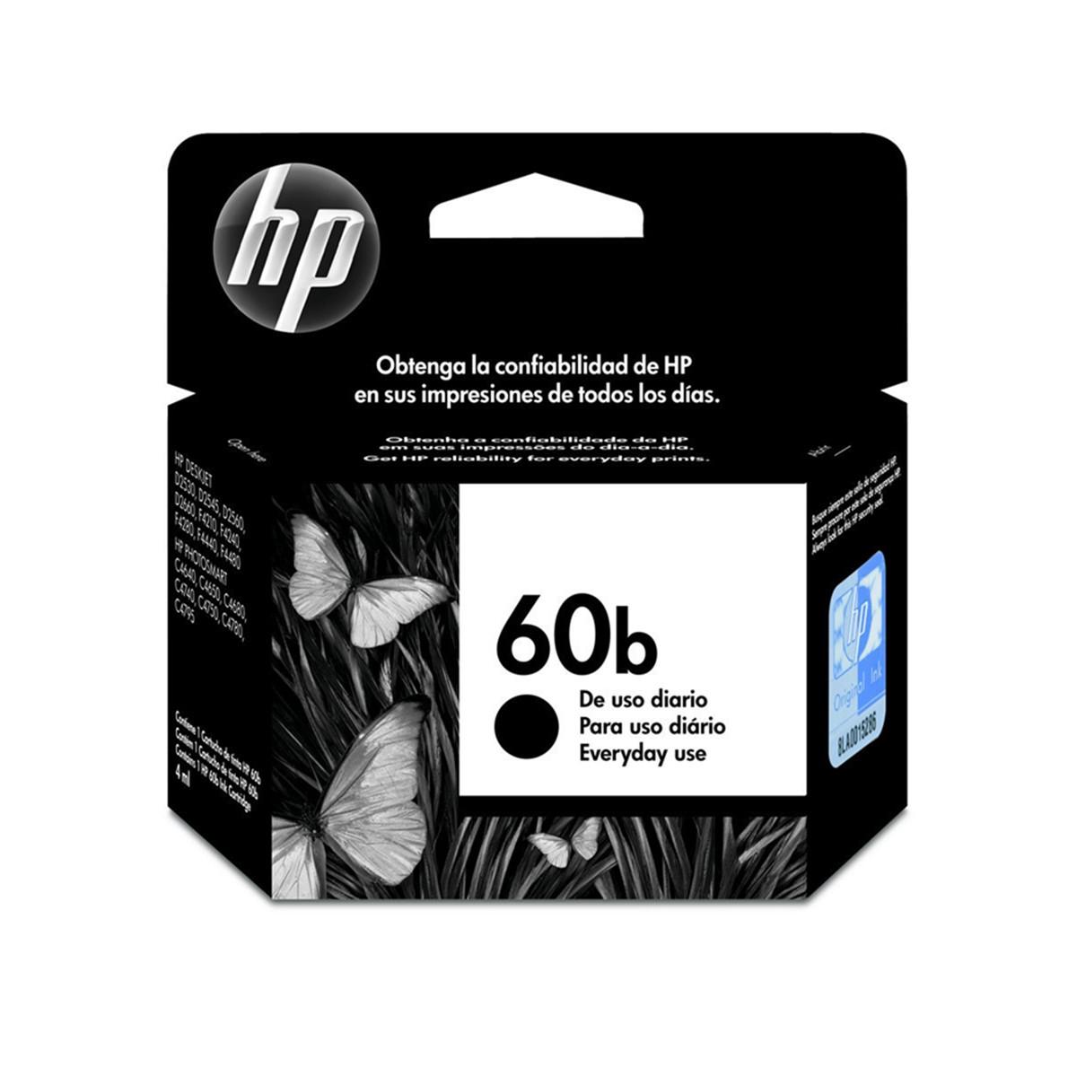 Cartucho de Tinta HP 60B 60 CC636WB Preto | F4480 F4280 D1660 | Original 4,5ml