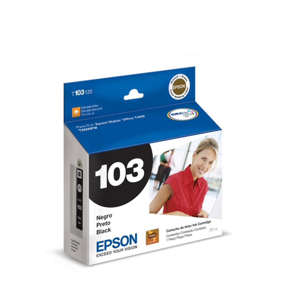 Cartucho de Tinta Epson Preto T103 T1031 T103120 | T40W TX600FW TX550W | Original 25ml