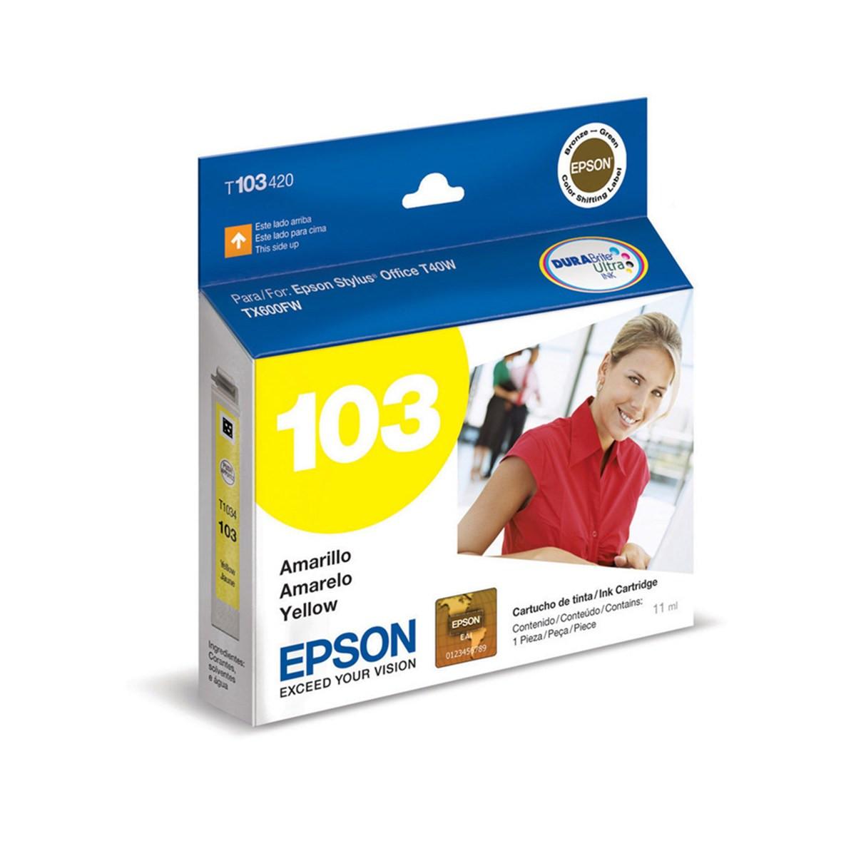 Cartucho de Tinta Epson T103420 T1034 T103 | Amarelo T1110 TX515FN TX600FW TX550W T40W Original 11ml