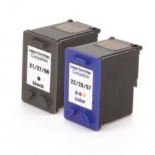 Kit Cartucho de Tinta Compatível com HP 21 e HP 22 | C9351A C9351AB + C9352A C9352AB | Preto + Color