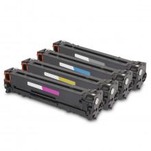 Kit 4 Toner Compatível com HP CB540A CB541A CB542A CB543A | CP1215 CP1510 CP1515 CP1518 | Premium