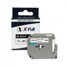 Fita Rotulador Brother 12mm M-K231 M231 Preto/Branco | Compatível