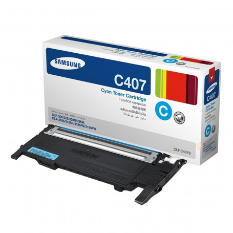 Toner Samsung CLT-C407S/XAA CLT-C407S Ciano | CLX3185FW CLX3185N CLP325W CLP325 | Original 1k