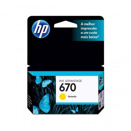 Cartucho de Tinta HP 670 CZ116AB Amarelo | Original HP | 3,5 ml