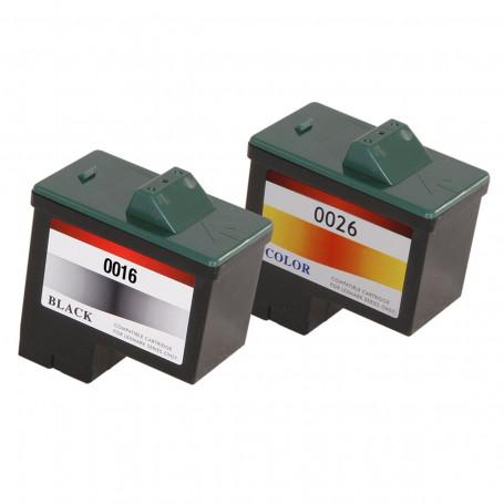 Kit Cartucho de Tinta Lexmark 16 10N0016 + 26 10N0026 | Preto+Color Compatível 9ml