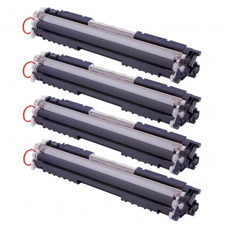 Kit 4 Toner Compatível com HP CE310A CE311A CE312A CE313A 126A | CP1025 CP1025NW CP1020 | Premium