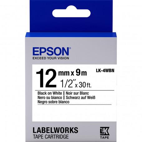 Fita Rotulador Epson 12mm LK-4WBN LW300 Preto/Branco | Original
