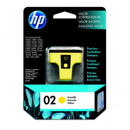 Cartucho de Tinta HP 02 C8773WL Amarelo | C7280 C6180 D6160 C7180 | Original 6ml