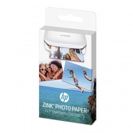 Papel Fotográfico HP Zink Autocolante para Sprocket 1WS91A W4Z13A 5x7,6cm 20 Folhas