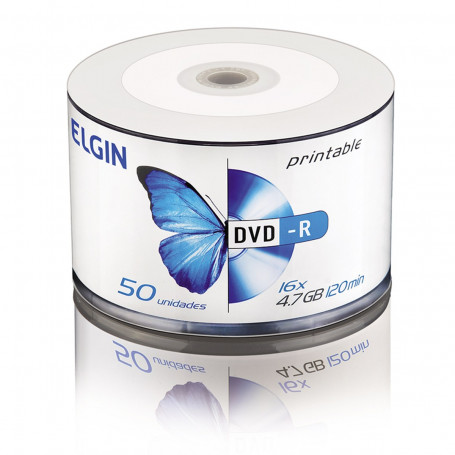 DVD-R Elgin Bulk com 50 Unidades Printable 82202   Capacidade de 4,7GB ou 120MIN e Velocidade de 16x